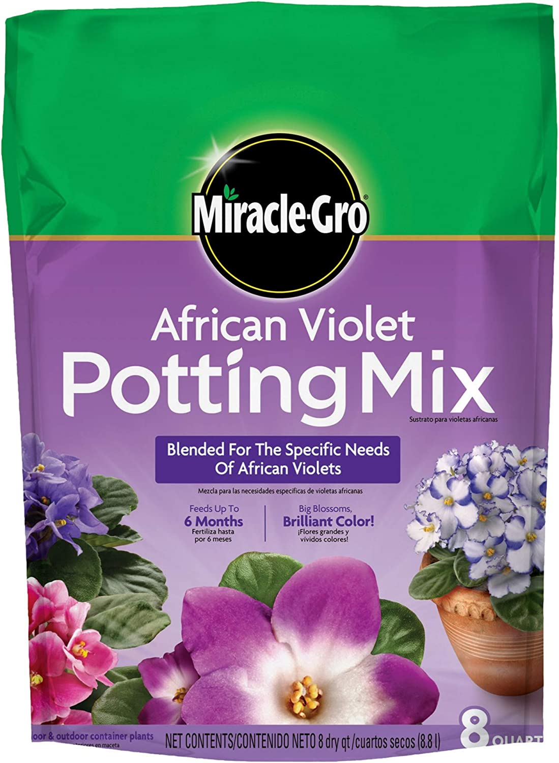 Miracle Gro 72678430 8 Qt African Violet Potting Mix 0.21-0.11-0.16
