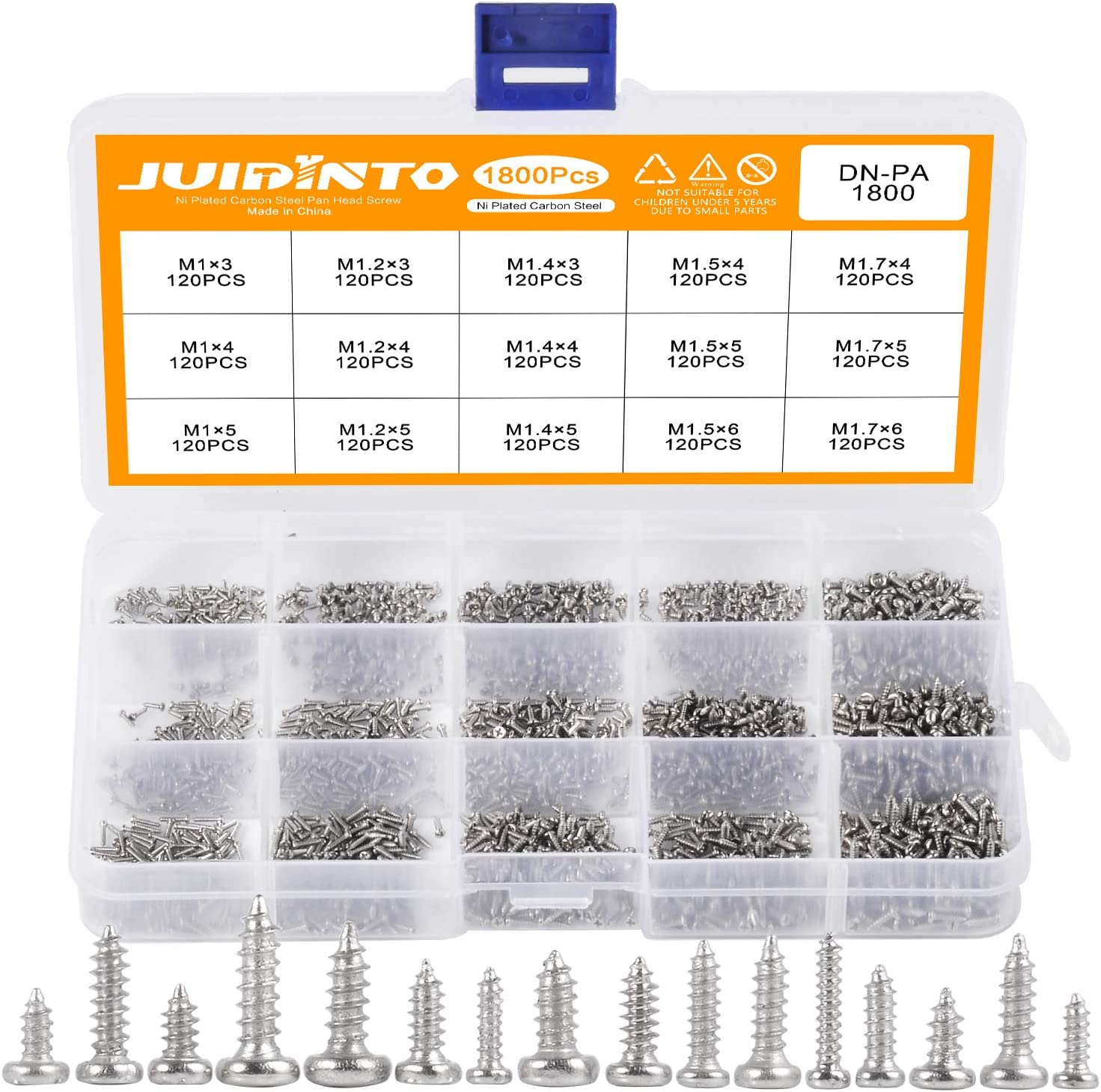 JUIDINTO PA Phillips Micro Laptop Tapping Screws Set M1 M1.2 M1.4 M1.5 M1.7 Micro Mini Wood Screw Set 1800pcs