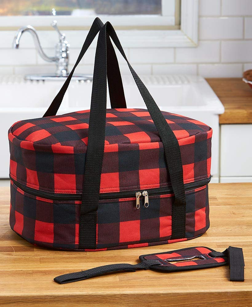 The Lakeside Collection Slow Cooker Carriers - Buffalo Plaid