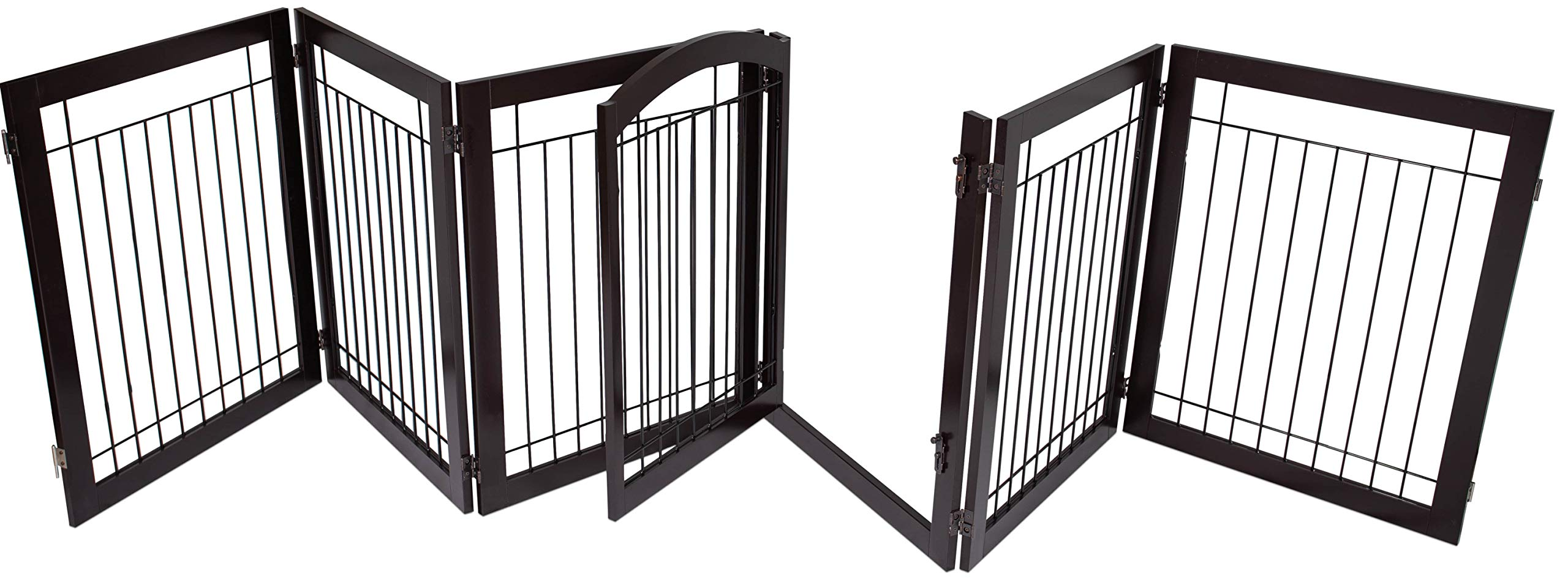 BIRDROCK HOME Indoor Dog Gate with Door - 6 Panel - 30 Inch Tall - Enclosure Kennel Pet Puppy Safety Fence Pen Playpen - Durable Wooden and Wire - Folding Z Shape Free Standing - Espresso by BIRDROCK HOME