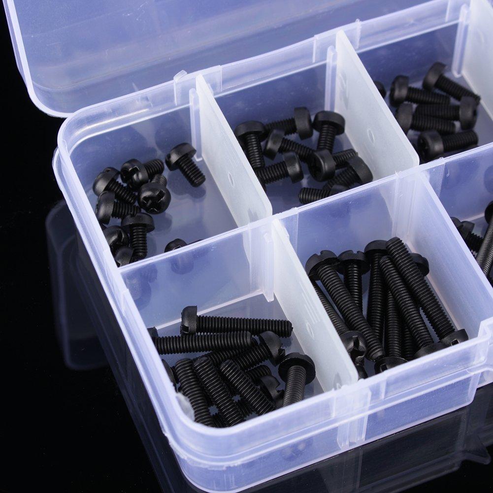 160/pcs M3/Nylon Vis Boulon /Écrous Assortiment kit Boulons pour machine /à vis /Écrou Ensemble avec bo/îte en plastique