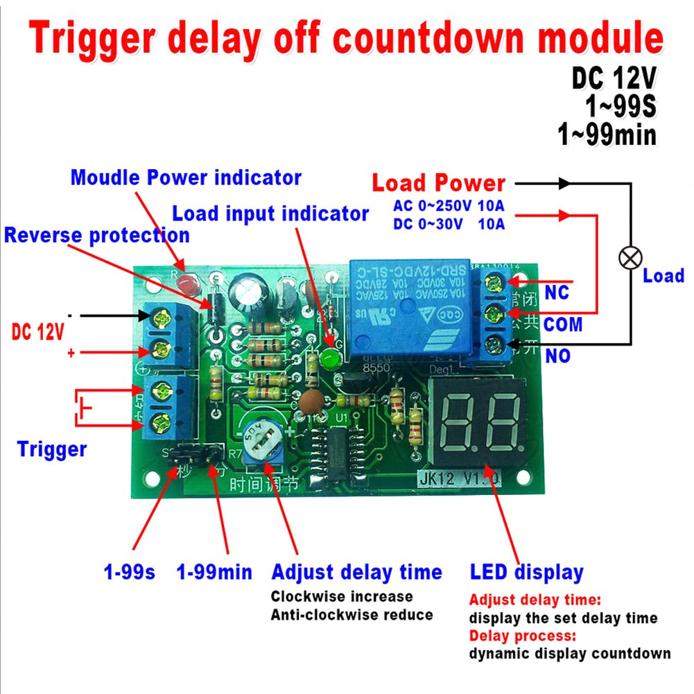 Dc12v Digital Led Display Countdown Timing Delay Timer Switch Turn Time Circuit Module W Vehicle Electrical 12v Off Relay 1 99s 99min Adjustable Industrial Scientific