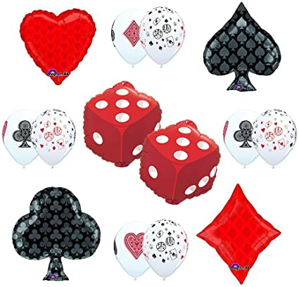 Cards and Dice Latex Balloons casino balloons poker cards  casino