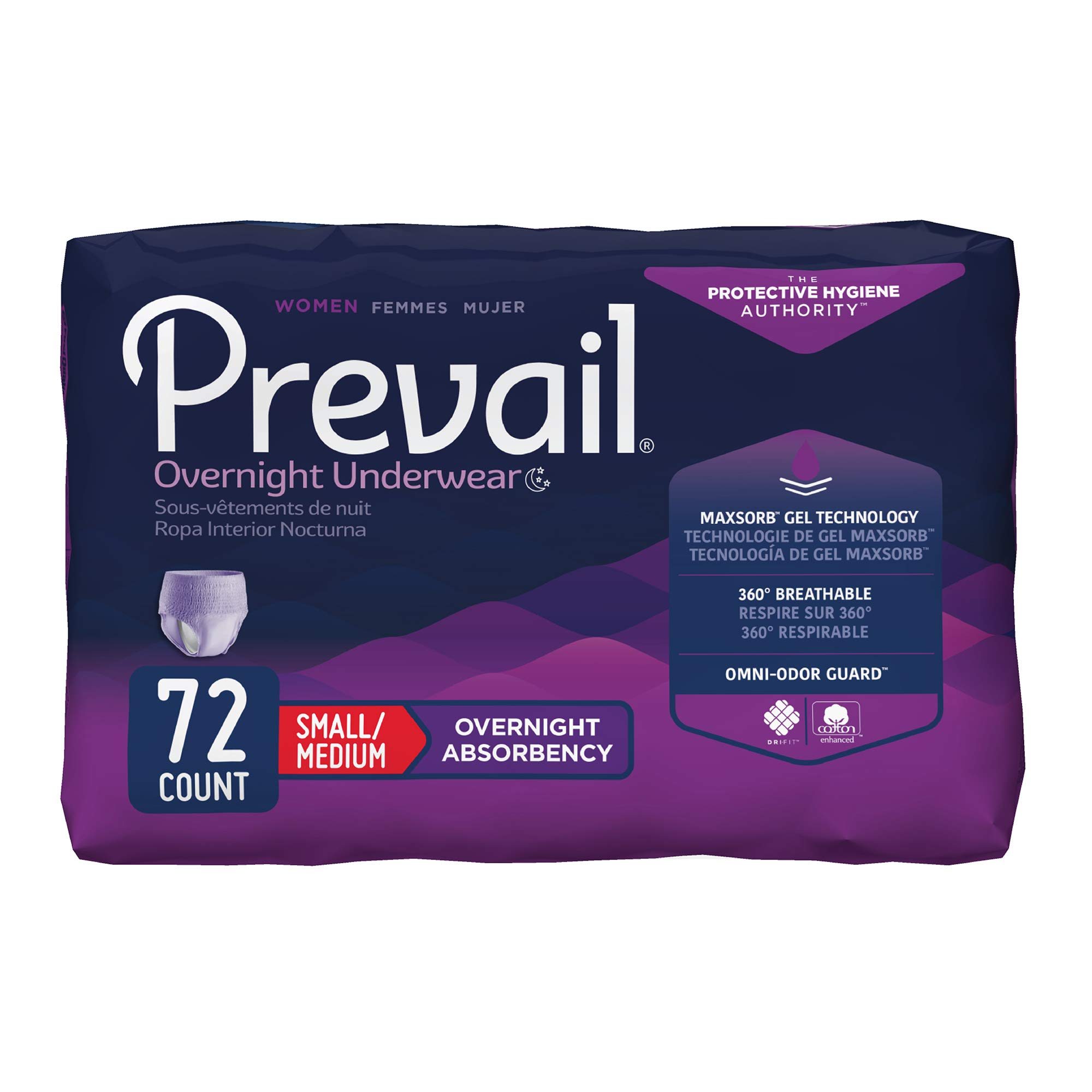 Prevail Overnight Absorbency Incontinence Underwear for Women, Small/Medium, 72 Count by Prevail