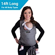 Original Baby Wrap Carrier - by CuddleBug - Available in 8 Colors - Baby Sling, Baby Wrap Carrier, Nursing Cover - Specialized Baby Slings and Baby Wraps for Infants and Newborn (Grey)