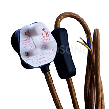 Vintage Industrie 2 Meter Stoff Kabel 3 Pin: Amazon.de: Elektronik