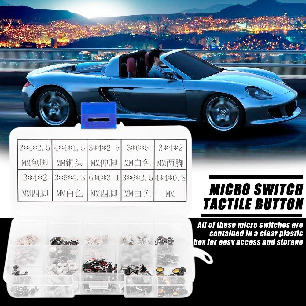 Akozon 250Pcs Tactile Bouton-poussoir Micro Assortiment Pour Cl/é T/él/écommande De Voiture avec Bo/îte