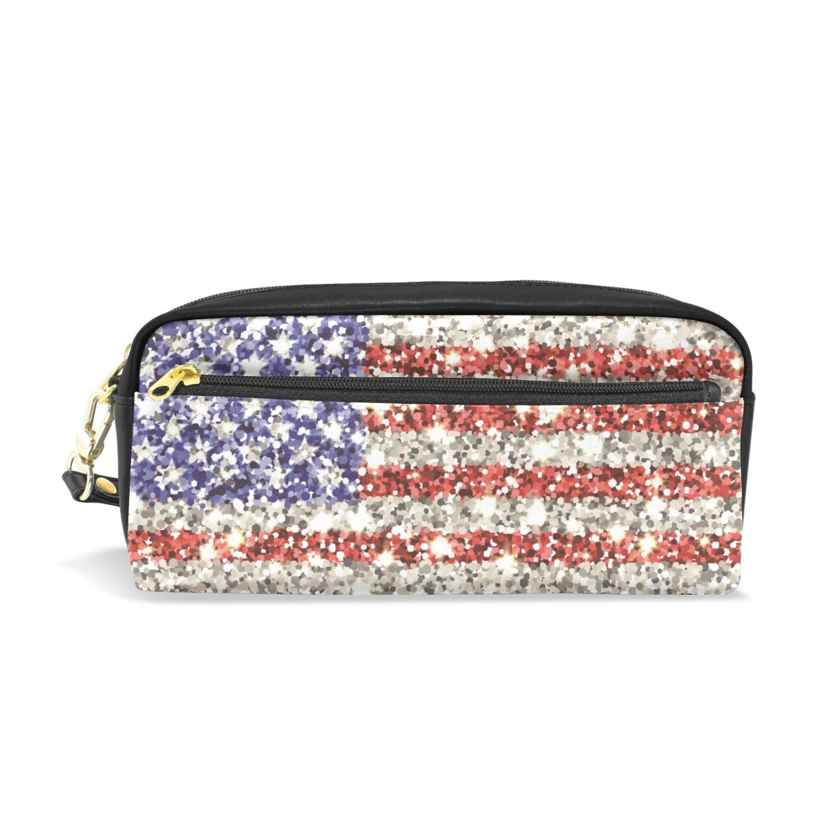 Pencil Case Pouch Storage America Sparkling Flag Stationery Cosmetic Makeup Wristlets Bag Zipper