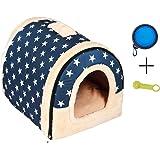 Enko 2 en 1 Cómodo Casa para Mascotas y Sofá, Interiores y Exteriores Portátil Plegable de Cama para Perro/Cama para Gato. Una Casa Caliente para su Mascota.(Large, Blue)
