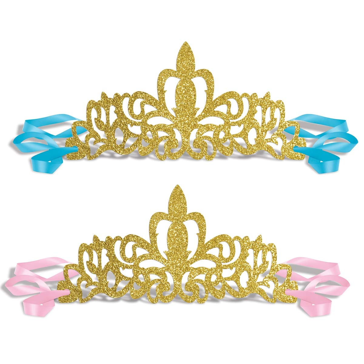 Beistle 60663 Glittered Princess Tiaras - Pack of 12