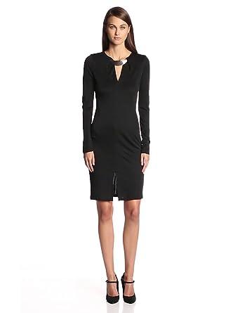 HALSTON HERITAGE Women's Longsleeve Deep V Neck Dress with Hardware, Black, 2