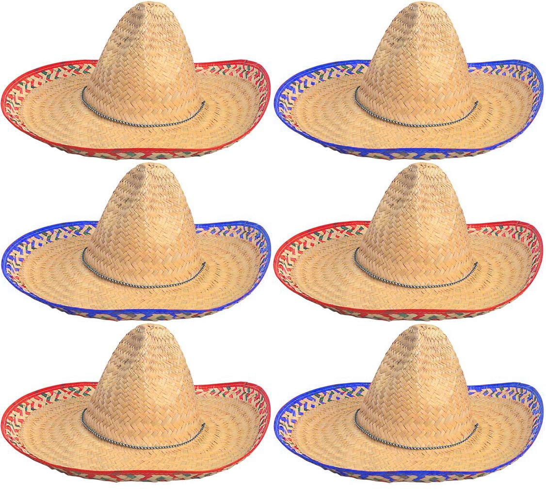 Sombrero Hats Bulk 6 Pack Fits Most Men and Women Cinco de Mayo Fiesta theme party Costume 4E's Novelty by 4E's Novelty