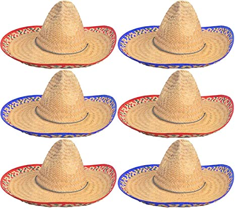 a694162c0151b Amazon.com: Sombrero Hats Bulk 6 Pack Fits Most Men and Women Cinco de Mayo  Fiesta theme party Costume 4E's Novelty: Toys & Games