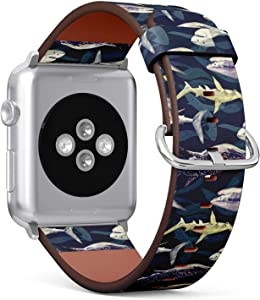 Compatible with Apple Watch 38mm & 40mm (Series 5, 4, 3, 2, 1) Leather Watch Wrist Band Strap Bracelet with Stainless Steel Clasp and Adapters (Sharks Variety Blue Tiger Whale)