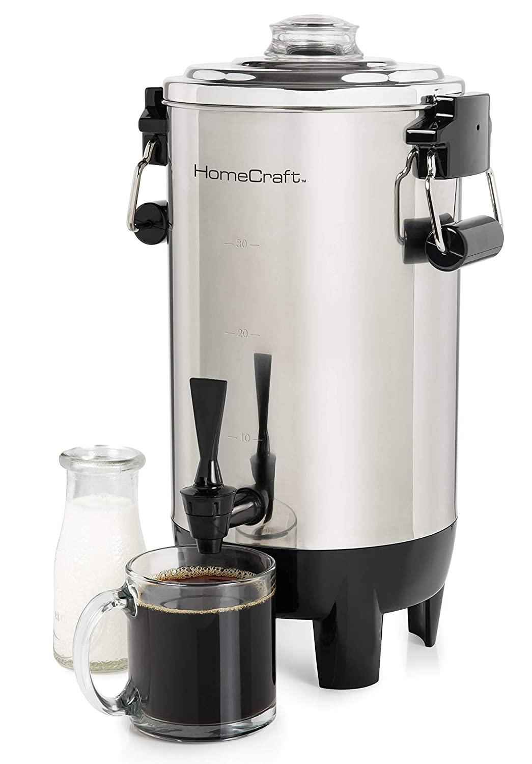 Nostalgia HomeCraft CU30SS Quick-Brewing 1000-Watt Automatic Coffee Urn, 30-Cup, Stainless Steel