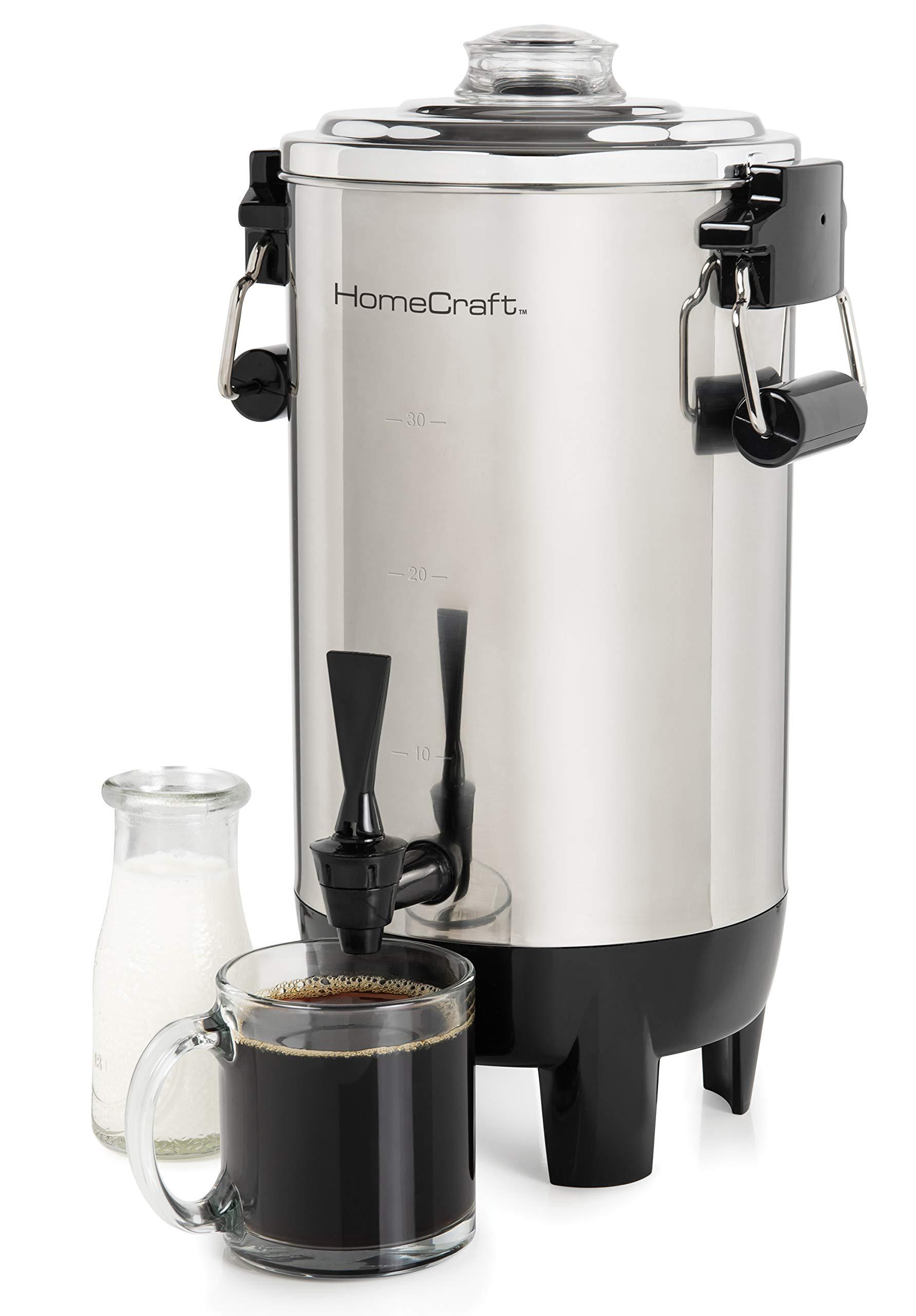 Nostalgia HomeCraft CU30SS Quick-Brewing 1000-Watt Automatic Coffee Urn, 30-Cup, Stainless Steel,