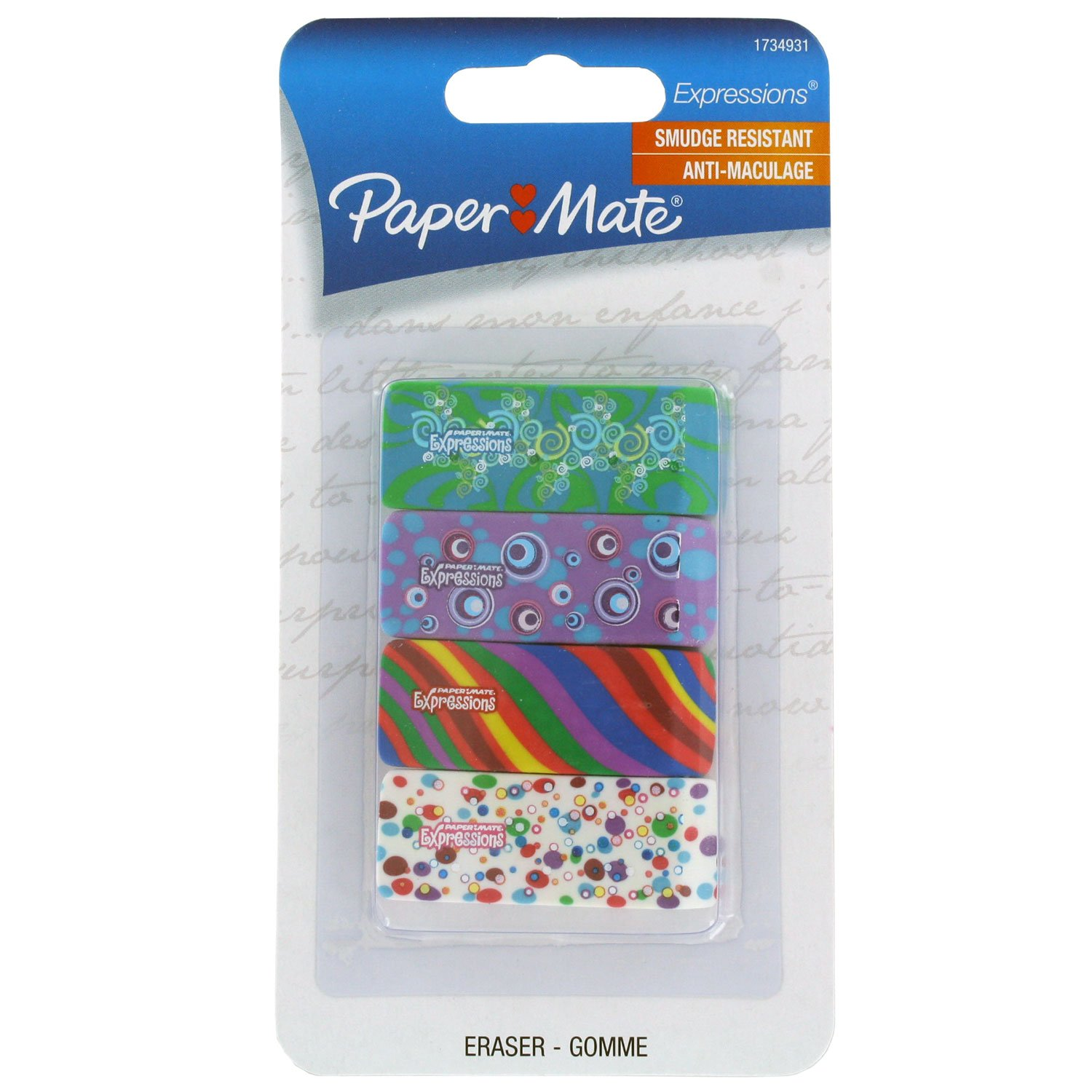 Paper Mate Expressions Decorated Erasers Papermate