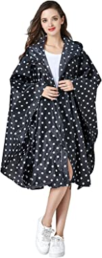 Womens Stylish Two Layers Rain Poncho with Colorful Print