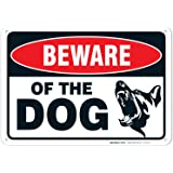 Beware of Dog Sign Made with 0.40 Aluminum. Dog Warning Sign is; 10 X 7 Inches, Weather & Rust Resistant, Fade Resistant, UV Protected, Easy to Mount, and Made in USA.