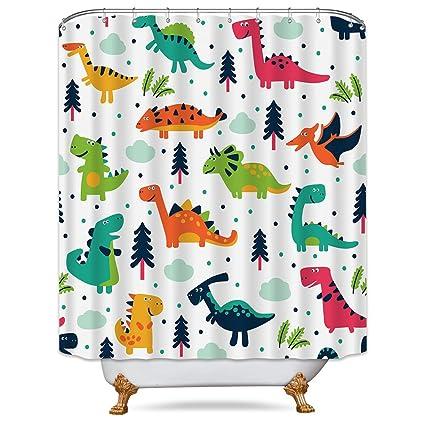 Riyidecor Dinosaurs Shower Curtain Colorful Free Metal Hooks 12 Pack Dino Cartoon Kids Jurassic Elasmosaurs