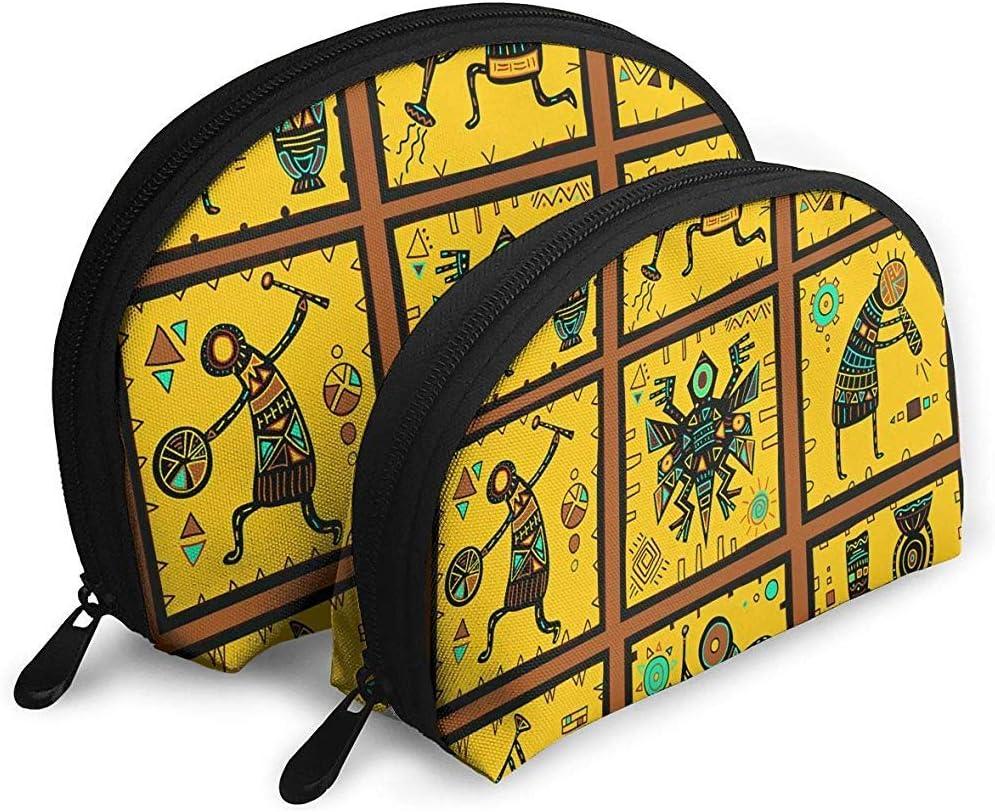Bolsas portátiles de impresión Tribal Africana Bolsa de Maquillaje Bolsa de Aseo, Bolsas de Viaje portátiles multifunción Pequeña Bolsa de Embrague de Maquillaje con Cremallera