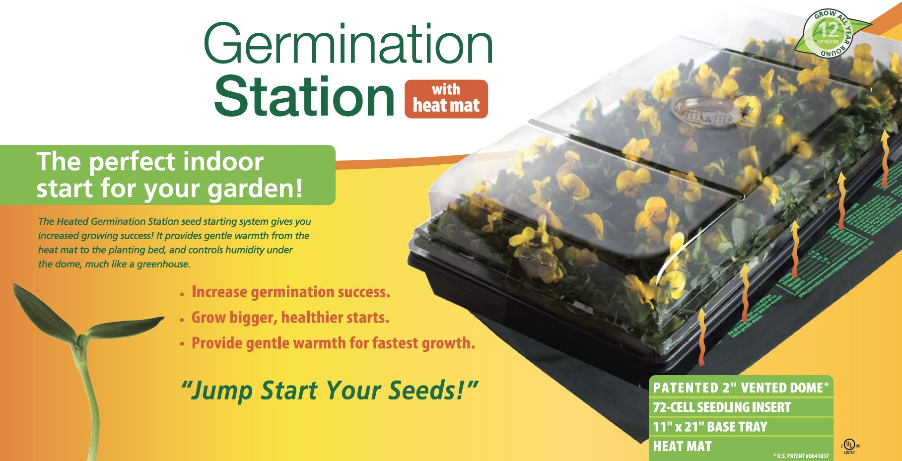 Jump Start,CK64050 Germination Station w/Heat Mat, Tray, 72-Cell Pack, 2'' Dome