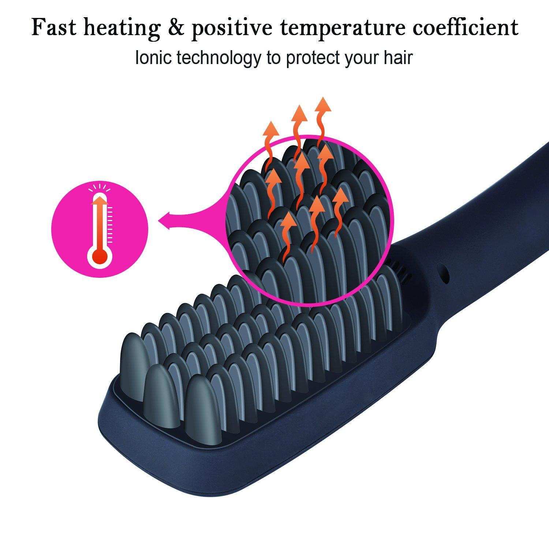 Cepillo alisador de pelo iónico y de cerámica 2 en 1. Con LCD que muestra la temperatura, antiquemaduras y para todo tipo de cabello: Amazon.es: Belleza