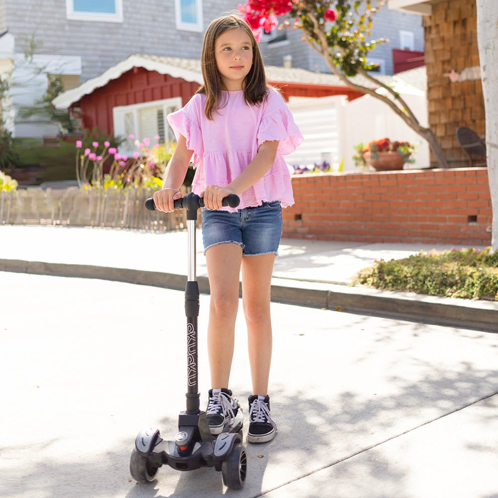 6KU Kids Kick Scooter with Adjustable Height, Lean to Steer, Flashing Wheels for Children 3-8 Years Old Black by 6KU (Image #3)