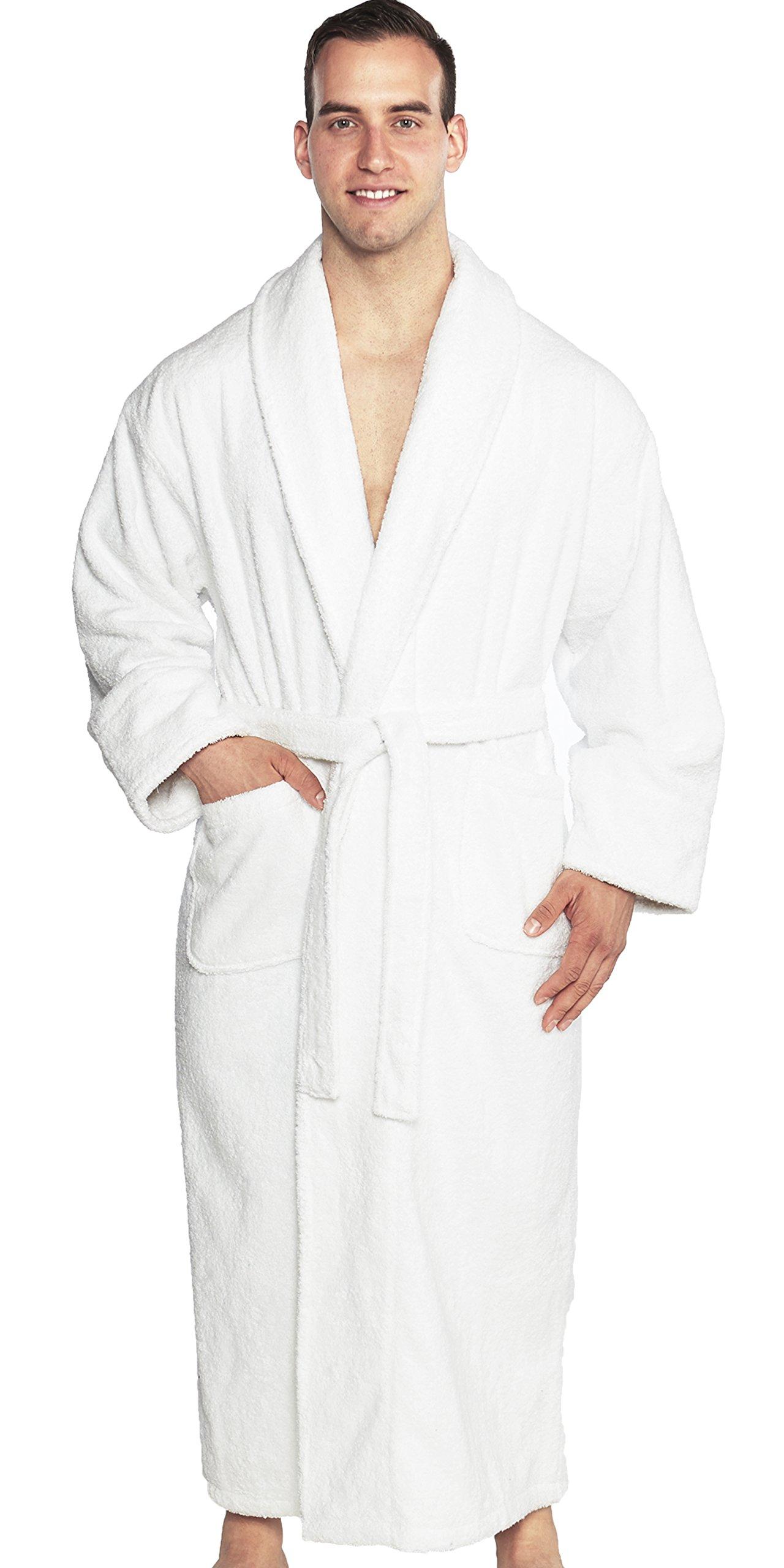 TurkishTowels Mens and Womens Original Terry Shawl Turkish Bathrobe-XL, White