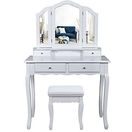 SONGMICS Large Dressing Table Set with Tri-fold Mirror Make-up Desk ...