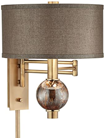 richford brass plug in swing arm wall lamp with dimmer amazon com