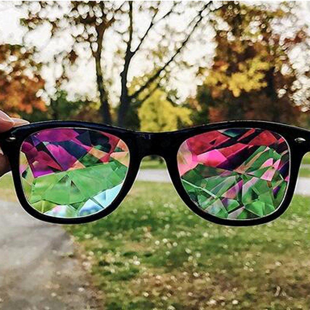 OMG_Shop Kaleidoscope Rainbow Glasses Prism Refraction Goggles for Festivals (Black)