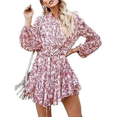 Kaei&Shi Ruffle Dresses for Women Floral Print Dress Balloon Sleeve A Line Mini Dress at Women's Clothing store