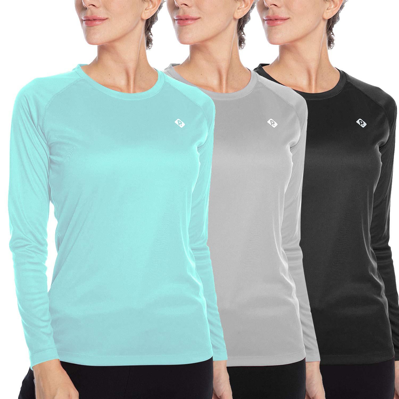 Women's UPF 50+ Sun Protection Cool Fast Dry Rashguard Long Sleeve Athletic Tops T -Shirt Light Grey+Black+Mint Green M by RlaGed