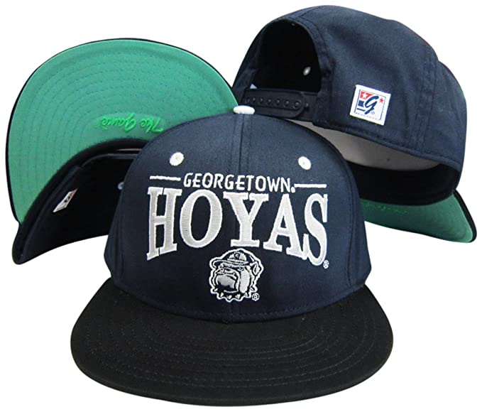 2123c9903c8 Image Unavailable. Image not available for. Color  Georgetown Hoyas  Navy Black Snapback Adjustable Plastic Snap Back Hat Cap