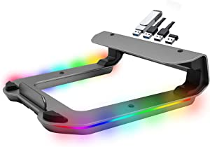 Tilted Nation RGB Gaming Laptop Stand with USB Ports - Sleek Laptop Riser with (4 USB 3.0 Ports and 10 RGB Modes) - Aluminum Laptop Stand for Desk That Improves Cooling Pad and Posture