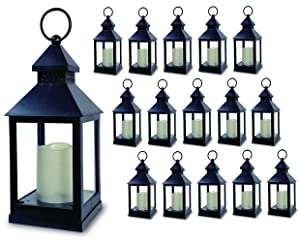 "BANBERRY DESIGNS Decorative Lantern - Set of 16-5 Hour Timer - 11"" H Black Lanterns with Flameless Candles Included - Indoor/Outdoor Lantern Set"