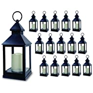 "BANBERRY DESIGNS Decorative Lantern - Set of 16-5 Hour Timer - 9 3/8""H Black Lanterns with Flameless Candles Included - Indoor/Outdoor Lantern Set"