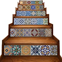 yazi Peel and Stick Tile Backsplash Stair Riser Decals DIY Tile Decals Mexican Traditional Talavera Waterproof Home Decor Staircase Decal Stair Mural Decals 18cm W x 100cm L (Set of 6)