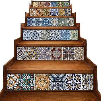 Yazi Peel And Stick Tile Backsplash Stair Riser Decals DIY Tile Decals  Mexican Traditional Talavera Waterproof