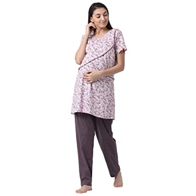 cd576963e72 GOLDSTROMS Womens Hosiery Fabric Maternity Feeding Nursing Top and Pyjama  Set Loungewear  Amazon.in  Clothing   Accessories