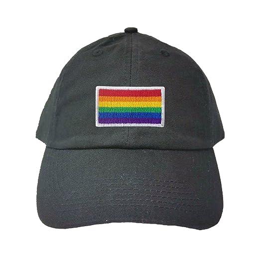 c0651486300 Adjustable Black Adult Rainbow Gay   Lesbian Pride Flag Embroidered Dad Hat