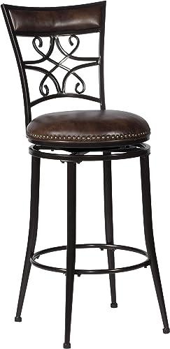 Hillsdale Furniture Seville Swivel Bar Stool, Height, Brown Shimmer