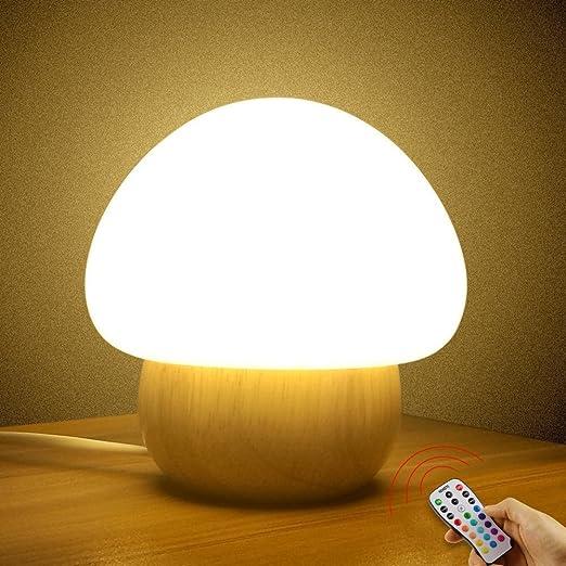 Multicolor led night light sunnior portable silicone cute color changing mushroom nursery night lamp with remote control romantic dim mood lamp
