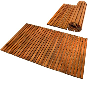 Deuba Wooden Bath Mat Duckboard Non Slip Acacia Wood Bathroom Spa Shower  Slatted Rectangular Luxury 80x50