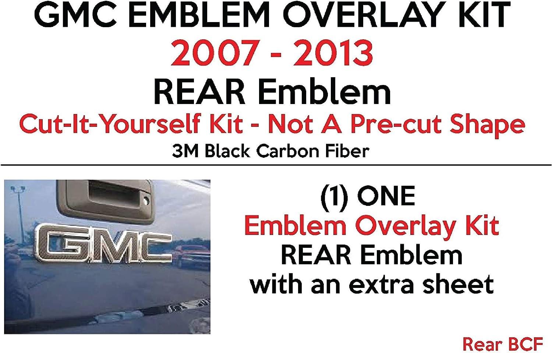 Acadia 3M Black Carbon Fiber-Free Sheet Shop Vinyl Design 2007-2013 GMC Rear Emblem Overlay Kit Yukon Sierra Denali