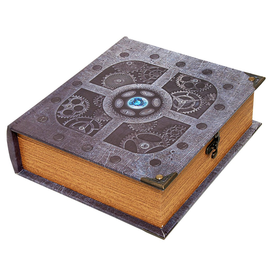Wizardry Foundry Grimoire Deck Box, Artificer | Large Wooden Spellbook Style Fabric Lined Deck or Cube Box for MTG, Yugioh, and Other TCG | 1000+ Card Capacity