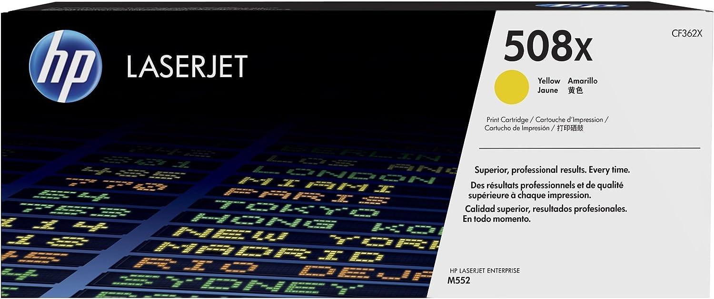 Hewlett-Packard CF362X CF 362X 508X - Tóner original XL para HP Color Laserjet Enterprise M 553 N (9500 páginas/5% aprox.), color amarillo