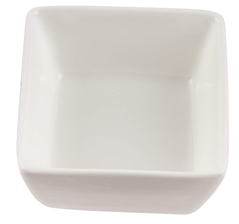 Custard Cups Dessert 3 x 1.6 Inches 6-Piece 4oz Square Ramekins for Baking For Creme Brulee Souffle Dishes Fruit Serving Plain White Oven Safe Dipping Sauce Bowls Porcelain Ramekins Set