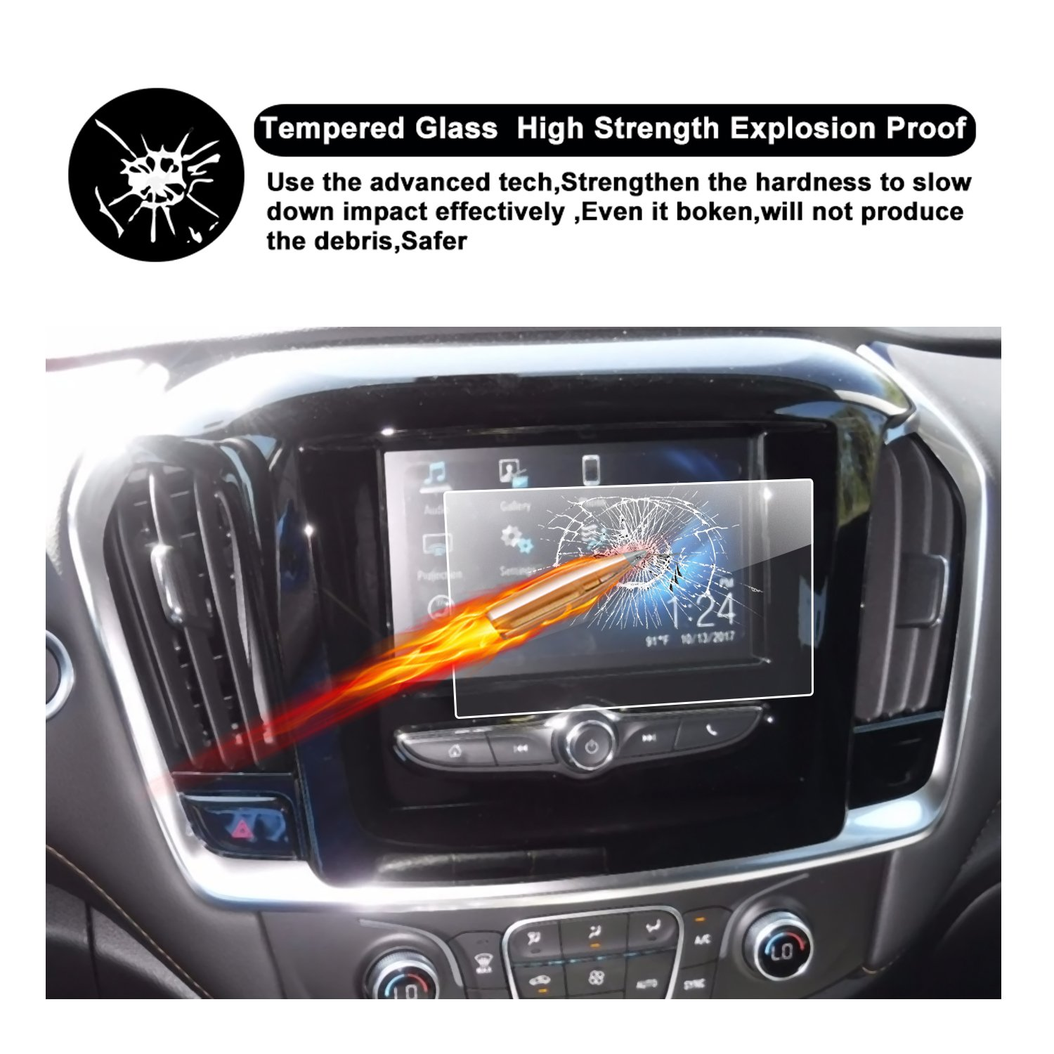 New R RUIYA HD Clear Tempered Glass Screen Guard Shield Scratch-Resistant Ultra HD Extreme Clarity 8-Inch 2018 Chevrolet Traverse MyLink Display Navigation Screen Protector